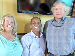 John Todd of Bubba Burgers with Chamber of Commerce's Julius Hackett and Katrina Richardson