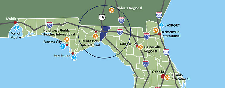 Map of Infrastructure in Jefferson County Florida showing 60-mile radius