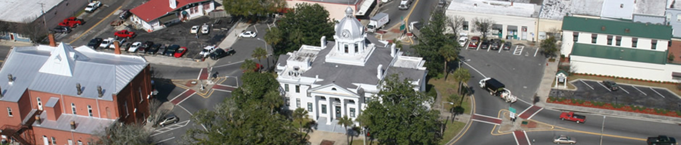 Aerial view of downtown Monticello, Florida