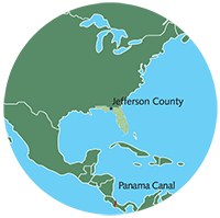 Small illustration of Jefferson County's location in the Americas