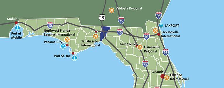 Map of transportation Infrastructure in Jefferson County Florida