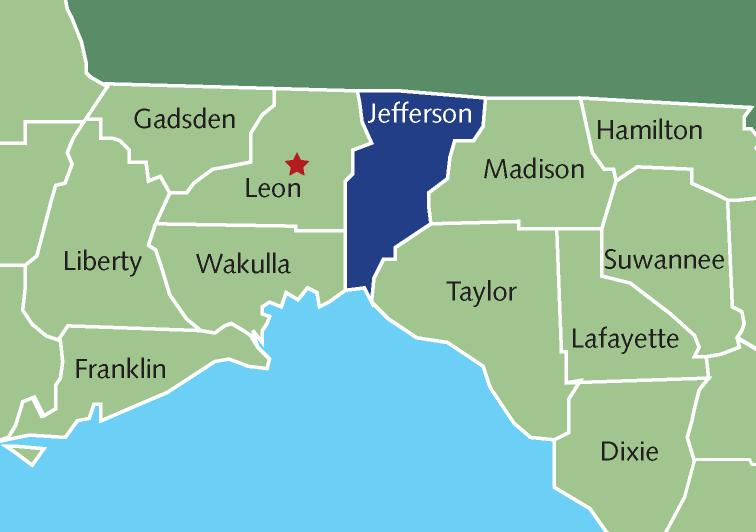 Counties surrounding Jefferson County, FL