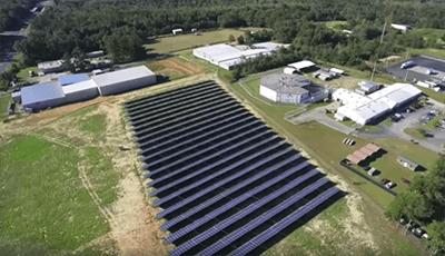 Aerial view of VizCO solar panels