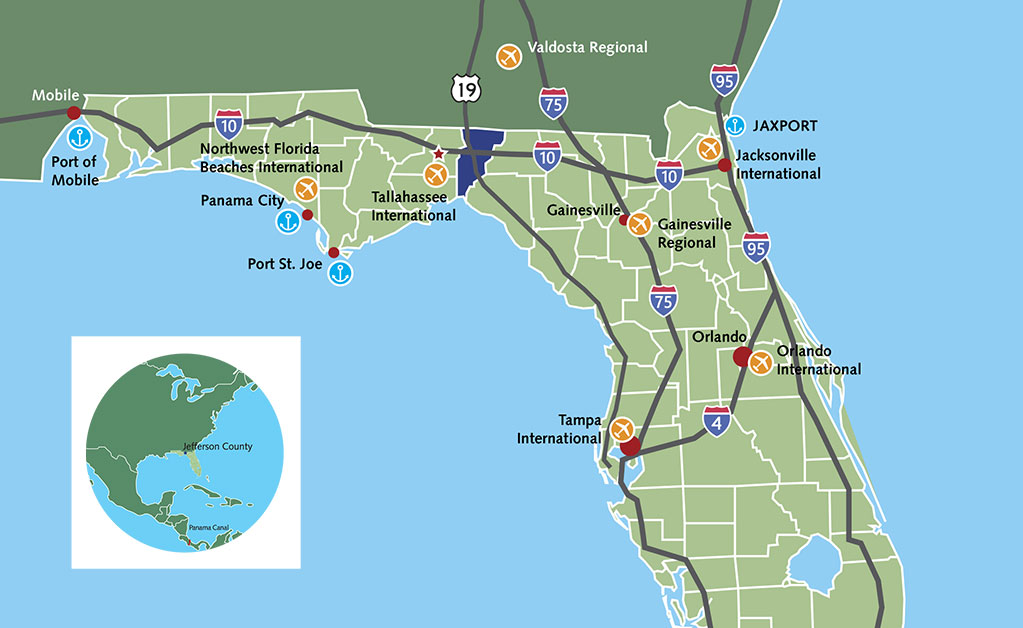Jefferson County, Florida is centrally located in north Florida's transportation and education regions.