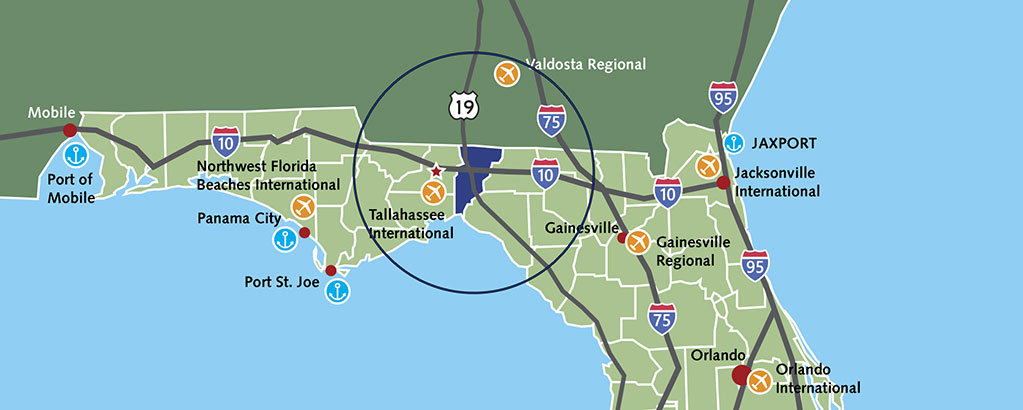 Close-up of 60-mile workforce radius around Jefferson County, FL