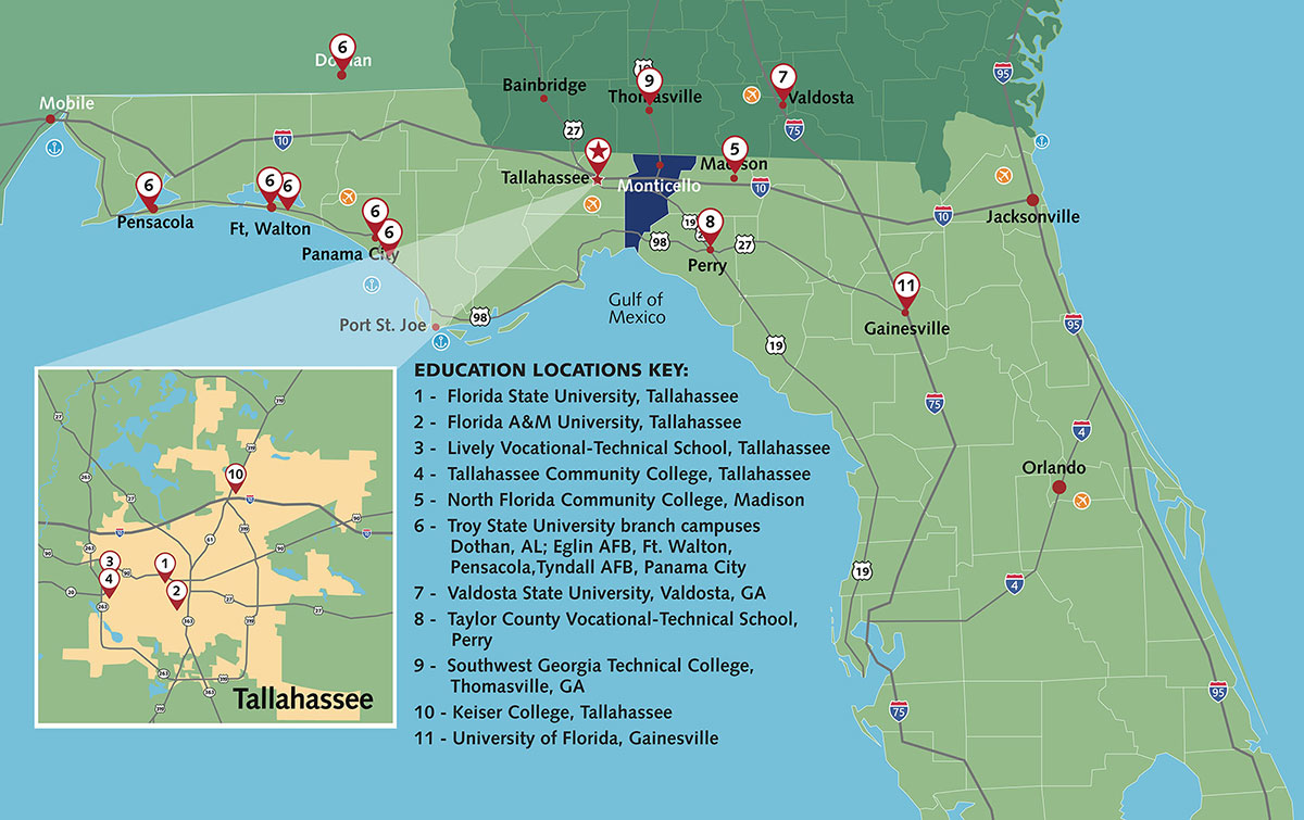 Map of educational institutions in North Florida