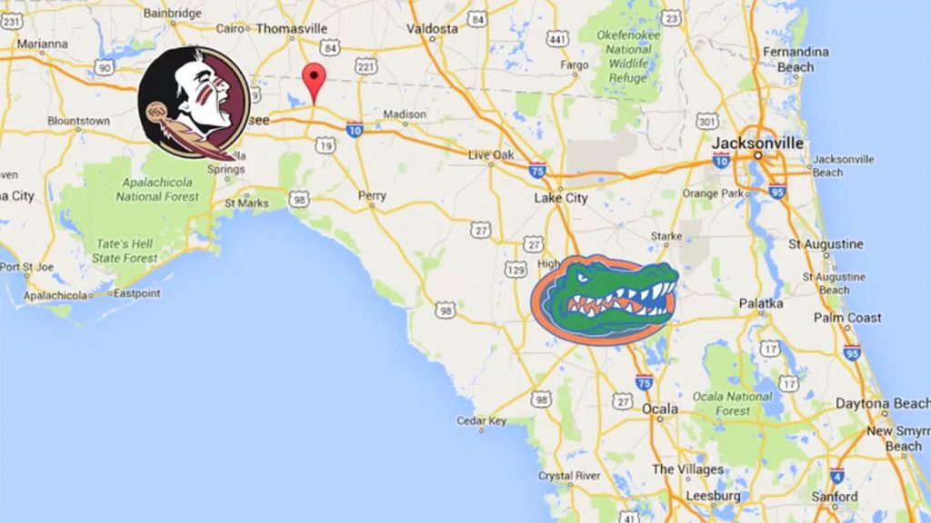 Jefferson County Florida is located between the Seminoles and Gators football teams.